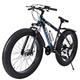 TOUNTLETS Fat Tire Mountain Bike 26 Inch Bicycle for Mens 21-Speed Anti-Slip Framed Fat Tire Cruiser Bike, Medium High-Tensile Steel Frame Suspension MTB Bikes for Heavy People (Blue)