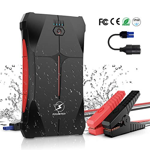 FLYLINKTECH Car Jump Starter 800A Peak 12V (up to 4.0L Gas Or 2.0L Diesel Engine), 12000mAh Portable...