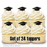 24 Cupcake Toppers Mini Graduation Cap Party Decorations