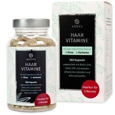 ASOYU Haar-Vitamine - 180 vegane Kapseln (3 Monate) - Hochdosiert mit Biotin, Kurkuma, Zink, Folsäure, Hirse Extrakt, Amla Beeren - Haarkapseln für Männer und Frauen