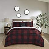 Madison Park Essentials Everest Bed in A Bag - Cabin Lodge Casual Design Cozy Reversible Comforter, Complete Sheet Set, All Season Cover, Matching Shams, Full/Queen, Red Plaid 8 Piece