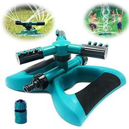 Buyplus Lawn Sprinkler – Automatic 360 Rotating Adjustable Garden Hose Watering Sprinkler Head for Kids, with 3600 SQ FT Coverage Lawn Irrigation System/Leak Free Durable 3 Arm Sprayers
