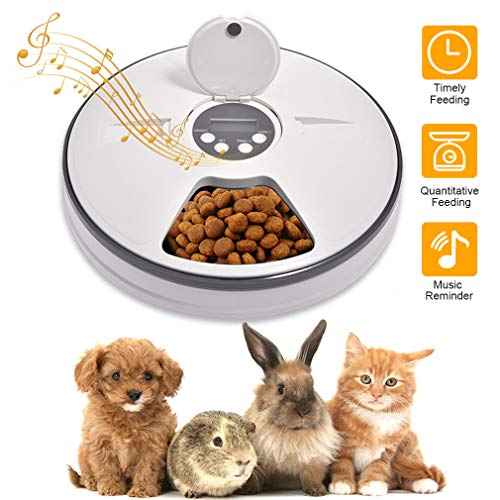 Automatischer Futterautomat mit digitaler Zeitschaltuhr, LACYIE Futterspender mit 6 Mahlzeiten Geeignetes Nass- und Trockenfutter für Katzen, Hunde Kaninchen und andere Haustiere mit Musik LCD-Display