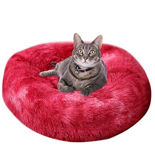 Vejaoo Haustierbett für Katzen Rundes Plüsch Katzensofa EIN süßes Donut geformtes Heimsofa XZ002 (Diameter:70cm, Tie-dye Wine Red)