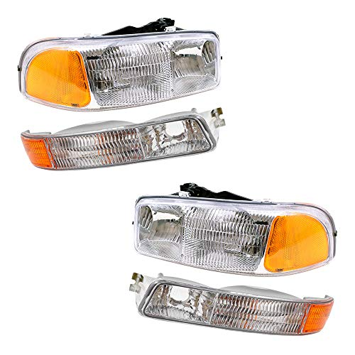 Aftermarket Replacement 4 Pc Set Halogen Headlights & Signal Marker Lamps Compatible with 1999-2007 Sierra Pickup Truck Replaces 15199560 15199561 15850351 15850352