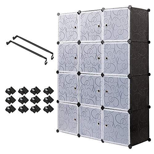 Meerveil Armadio 12 cubo in Plastic Guardaroba Organizzatore cubo, Portatile Modulare con Asta Fai...