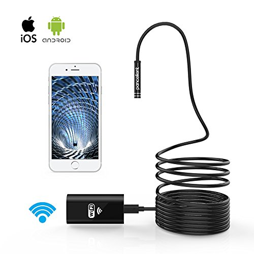 WiFi Endoscopio Pancellent Wireless Borescopio 2.0 Mega Pixels HD Inspection Camera Rigid Snake Cable (5 Metes) for IOS iPhone Android Samsung Smartphone