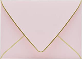A7 Pink Envelopes 5 x 7 – V flap, Quick Self Seal, With Gold Border, For 5×7..