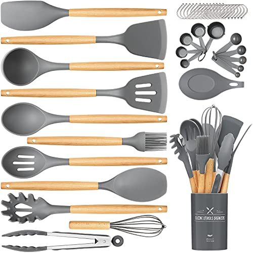 Silicone Cooking Utensils Set, 33Pcs Wooden Handles Spatula...