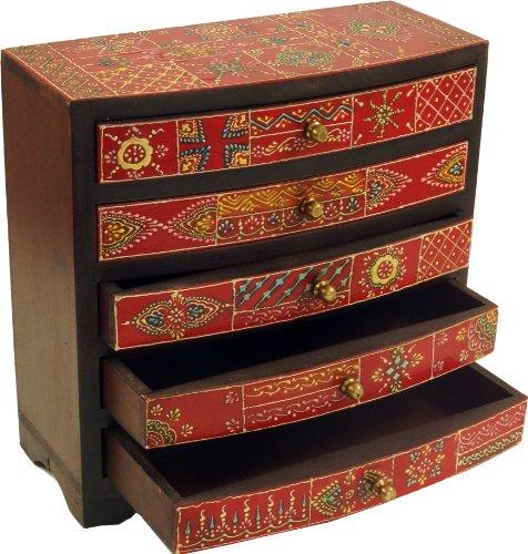 Guru-Shop Kleines Apothekerschränkchen, Schmuckkästchen, Handbemaltes Schubfachschränkchen - Modell 2, Mehrfarbig, 25x25x10 cm, Dosen, Boxen & Schatullen