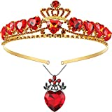 Red Heart Necklace and Crown Set Valentine's Day Present for Girls Red Heart Queen Necklace Red Heart Tiara Golden Crown for Birthday Party Costume Accessory