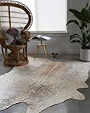 Loloi II Bryce Collection Faux Cowhide Area Rug, 3'10' x 5', Pewter/Gold
