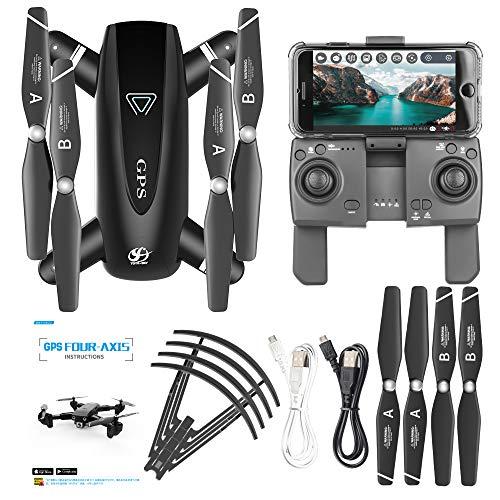 MXXQQ Drone GPS, 4K HD Camera WiFi RC Quadricottero WiFi FPV Drone Resistenza al Vento a Quattro...