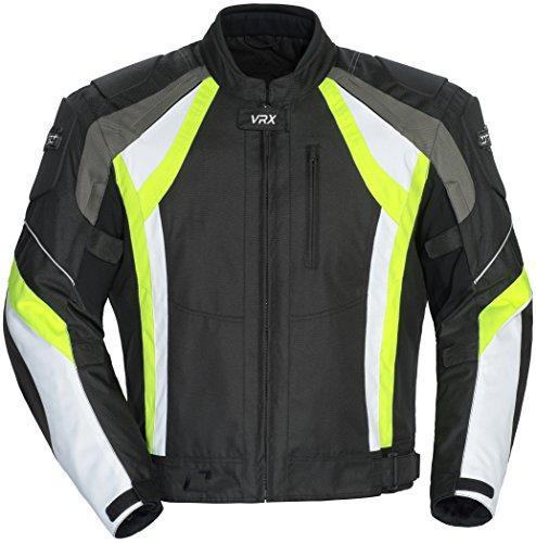 Cortech VRX Men's Textile Armored Motorcycle Jacket (Black/Hi-Viz/White, XX-Large)