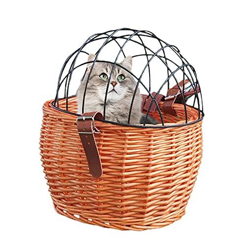 Rvtkak Cesta de mimbre para bicicleta para perros pequeños, gatos y mascotas con cubierta de malla de alambre