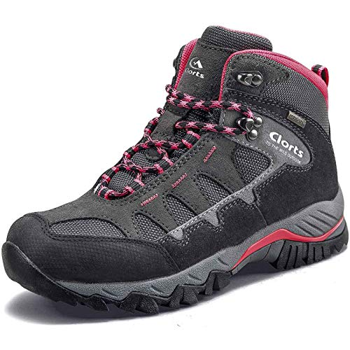 Clorts Women's Pioneer Hiking Boots Waterproof Suede Leather Lightweight Hiking Shoes Dark Grey/Pink US Women Size 7.5 Medium Width