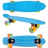 Flybar 22 Inch Complete Plastic Cruiser Skateboard Custom Non-Slip Deck Multiple Colors (Blue Orange LED)
