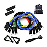 HOONSO Resistance Bands Set, 11 Pcs Exercise Bands with Handles, Door Anchor, Ankle Straps, Storage Bag for Home Workouts, Weight Training, Physical Therapy, Portable Home Gym Accessories