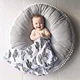 Kids Floor Pillow Seating Cushion Round Floor Cushion Large Tatami Floor Pad for Bedroom, Reading Nook, Watching TV, Living Room, Grey Diameter-33 Inches Soft Cotton