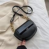 Mdsfe Mini Bolso Bandolera de Cuero de PU para Mujer 2020 Bolso pequeño de Moda para Mujer Bolso de Mano y alforja para Mujer-BigBlack