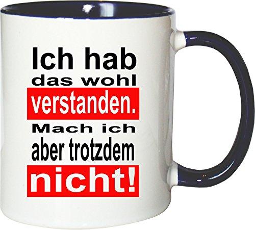 Mister Merchandise - Tazza da t con scritta in lingua tedesca 'Ich hab es capen. Mache ich Aber nicht, bianco-blu