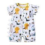 Body Pyjama Bébé Eté 3 6 12 18 24 mois Grenouillère Combinaisons et Barboteuse Tenues Bébé Fille Garçon Manches Courtes en Coton Dinosa mignon Bébé Respirant Turbulette Légère (66(3-6mois), B)