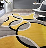 Rugshop Contemporary Abstract Circles Area Rug 5' 3' x 7' 3' Yellow