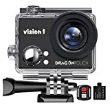 Dragon Touch 1080P Action Camera 12MP Underwater Waterproof Camcorder with 2' LCD Screen Remote Control and Mounting Accessories Kits Vision 1
