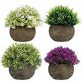 BELLE VOUS Fausse Plante Verte, Violette et Blanche en Pot (Lot de 4) - Plante...