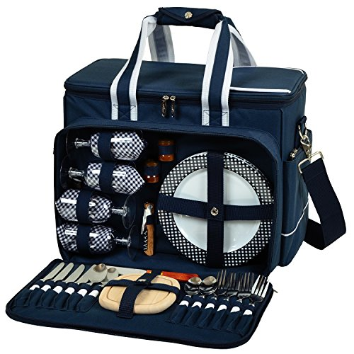 Picnic at Ascot- Original Insulated Picnic Cooler with Service for 4 - Designed & Assembled in the USA