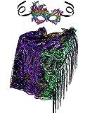 Mardi Gras Poncho Sequin Shawl Scarf with Mardi Gras Mask Masquerade Party Costume Accessories