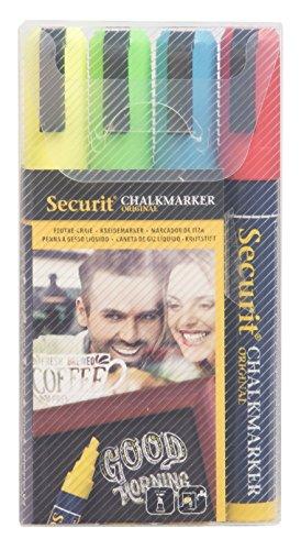 Securit Set da 4 pennarelli a gesso liquido colori di base Giallo, verde, rosso, blu - Punta Media