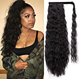 Stamped Glorious 22 Inch Long Corn Wave Ponytail Extension Magic Paste Heat Resistant Wavy Synthetic Wrap Around Ponytail Black Hairpiece for Women (1B)