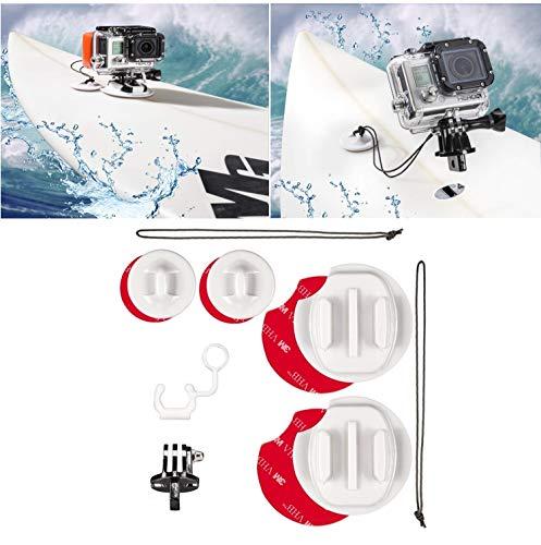 micros2u Surfboard Kit di montaggio per il surf Compatibile con GoPro Hero 7 6 5 4 3 & Session. Include cavo di sicurezza e tappo FCS di blocco