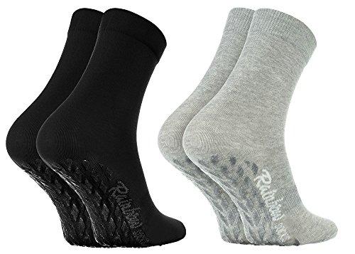 Rainbow Socks - Donna Uomo Colorate Calze Antiscivolo ABS di Cotone - 2 Paia - Grigio Nero - Tamao 39-41