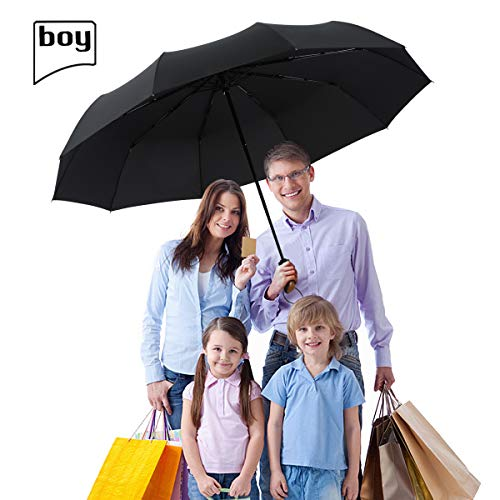 boy TF Golf Umbrella, Extra Large Canopy Windproof Umbrella With Reinforced Fiberglass Ribs, Automatic Windproof Vented Fast Drying Compact Umbrella