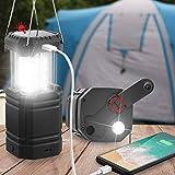 Lanterne de Camping à Manivelle Solaire, Lampe de Poche LED Ultra Lumineuse Portable, 30-35 Heures...