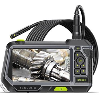 """Dual Lens Endoscope with 5"""" Monitor, Teslong NTS500 Industrial Waterproof Borescope Inspection Camera with 0.21in Front & Side-View Double Lens with 9.8FT Probe, 5-Inch IPS LCD Screen & Case"""