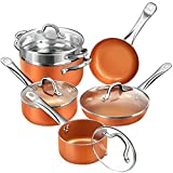 SHINEURI RCS-Tech Real Copper Infused Ceramic Coating 10 Pieces Cookware Set, Designed in USA and Coating formula from Germany, Pot and Frying Pans Set Induction Gas Electric Stovetops
