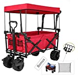 "Tintonlife Push and Pull Collapsible Utility Wagon, Heavy Duty Folding Wagon Cart with Removable Canopy&Brakes, 7"" All-Terrain Wheels, Adjustable Cart Handles for Shopping, Picnic, Beach, Camping Red"