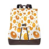 Yuanmeiju Mochila de Cuero Rucksack Pumpkin Seamless Pattern Daypack Bags for Girls Boys