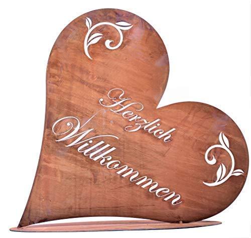 Rostikal Herzlich Willkommen Schild 32 x 30 cm Shabby Chic Deko Herz Gartendeko Vintage Tischdeko