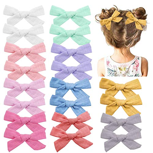 Baby Girls Hair Bows Clips Hair Barrettes Accessory for Babies Infant Toddlers Kids (Light Color Set 1-20PCS)