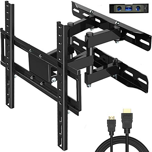 Everstone TV Wall Mount Fit for Most 26'-60' TVs Heavy Duty Dual Arm Articulating Full Motion Tilt Swivel 14' Extension Bracket,LED,LCD,OLED&Plasma Flat Screen TV,Curved TV,Up to VESA 400mm,HDMI Cable