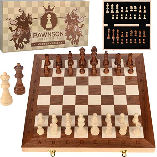 Wooden Chess Set for Kids and Adults  17 in Staunton Chess Set - Large Folding Chess Board Game Sets - Storage for Pieces | Wood Pawns - Unique E-Book for Beginner - 2 Extra Queens