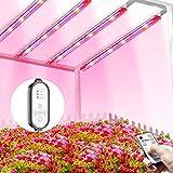 TOPLANET Lmpara de Planta, 40W Lampara Led Cultivo Tubo, T5 Full Spectrum con Luz Azul Roja, 4 PCS Luz Plantas Crecimiento con Temporizador Automtico 4/8/12H, 3 Modos Lmpara LED para indoor cultivo