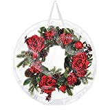 Takefuns Christmas Wreath Storage Container-Waterproof Xmas Holiday Wreath Storage Bag Clear Everyday Bag-Stores Two 30-Inch Wreaths-Heavy Duty Seasonal Storage for Easter Halloween Thanksgiving Day