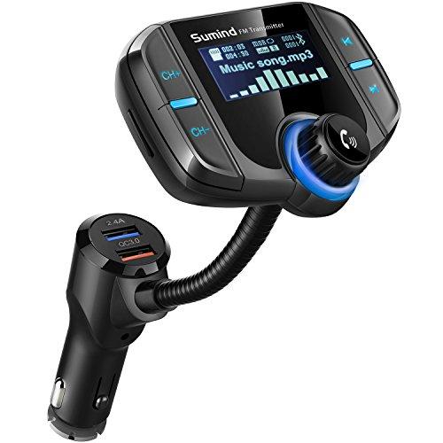 Transmetteur FM Bluetooth avec 1.7 Pouces Afficher et Double Ports USB (Noir)