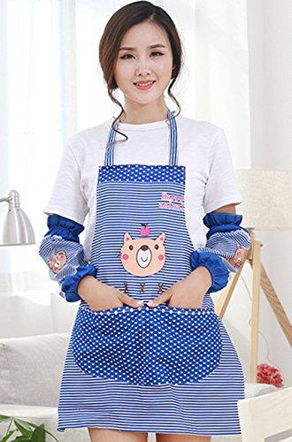 Abcsea Babero Delantal de cocina mujer, delantal con bolsillos para cocina,delantal con mangas mujer - Azul