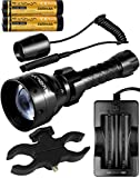 T67 IR 850nm IR Light Illuminator Infrared Led Flashlight 67mm Lens IR Torch for Long Rang Night Vision Scope Hunting (Mount and Tail Switch Package)